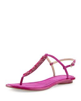 B Brian Atwood Callas Suede T-Strap Sandal, Dark Pink