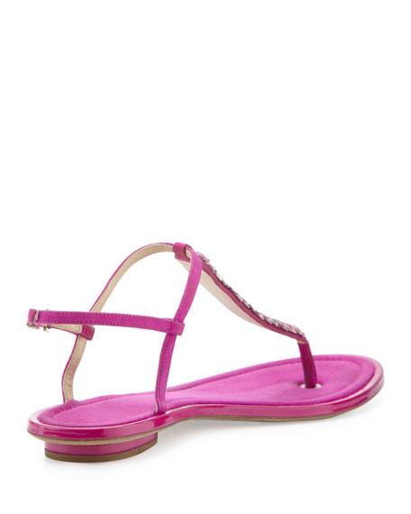 Callas Suede T-Strap Sandal, Dark Pink