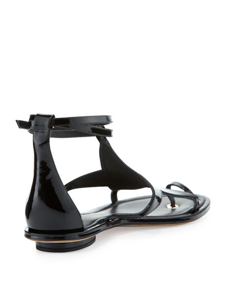 Caterina Patent Star Sandal, Black