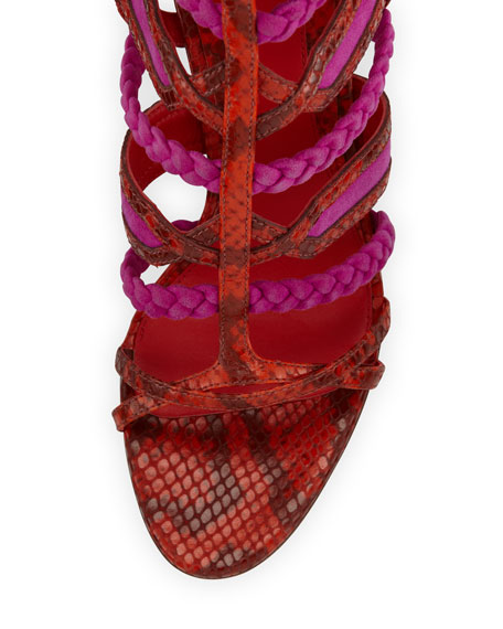 Elisa Python Tie-Back Sandal, Orange/Pink