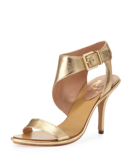 Pikora Asymmetric Ankle Strap Sandal, Gold