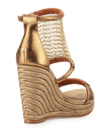 Dellah Chain-Mesh Wedge Sandal