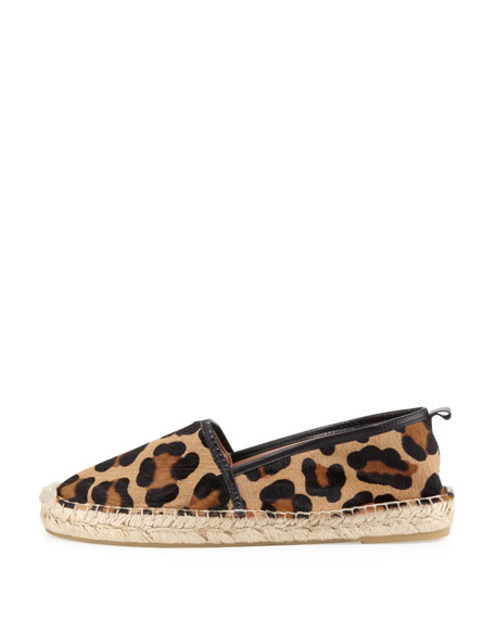 Cadrian Calf Hair Flat Espadrille, Leopard