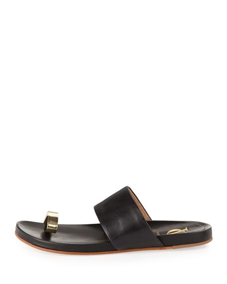Capria Leather Toe-Ring Sandal, Black