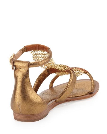 Millee Chain-Mesh Flat Sandal, Bronzo/Cuoio