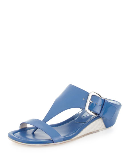 Doli Buckled Demi-Wedge Slide, Capri Blue