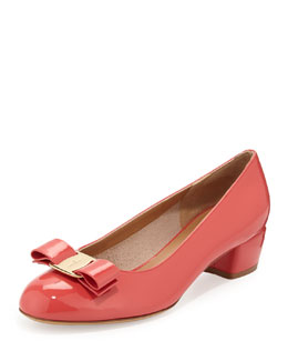 Salvatore Ferragamo Vara Patent Low-Heel Bow Pump, Morning Rose