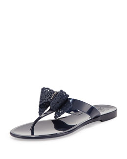 Salvatore Ferragamo Pandy Lace Bow Jelly Thong Sandal, Oxford Blue