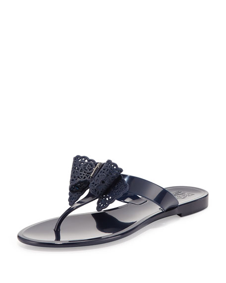 Pandy Lace Bow Jelly Thong Sandal, Oxford Blue