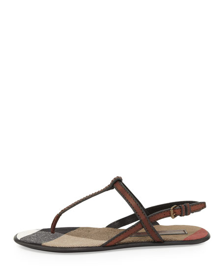 Leather Thong Sandal, Dark Tan