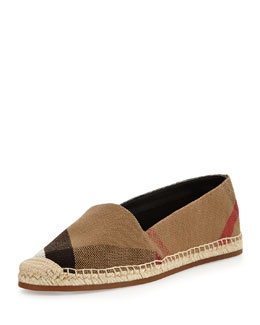 Burberry Check Canvas Flat Espadrille, Classic Check