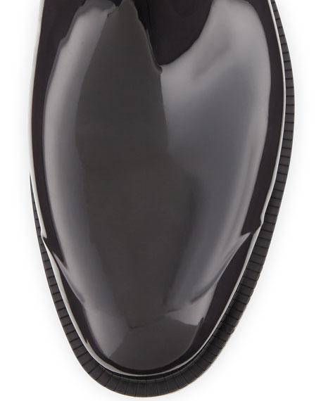Cuffed Check Rain Boot, Black