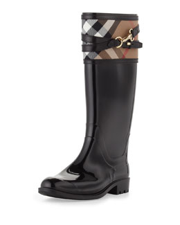 Burberry Cuffed Check Rain Boot, Black