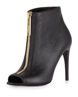Burberry Zip-Front Peep-Toe Leather Bootie, Black