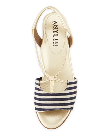Leah Striped Demi-Wedge Sandal