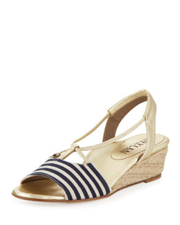 Anyi Lu Leah Striped Demi-Wedge Sandal