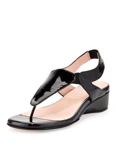 Taryn Rose Kiara Patent Thong Sandal, Black