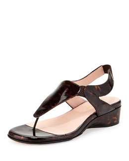 Taryn Rose Kiara Patent Thong Sandal, Tortoise