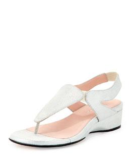 Taryn Rose Kiara Metallic Suede Thong Sandal, Silver