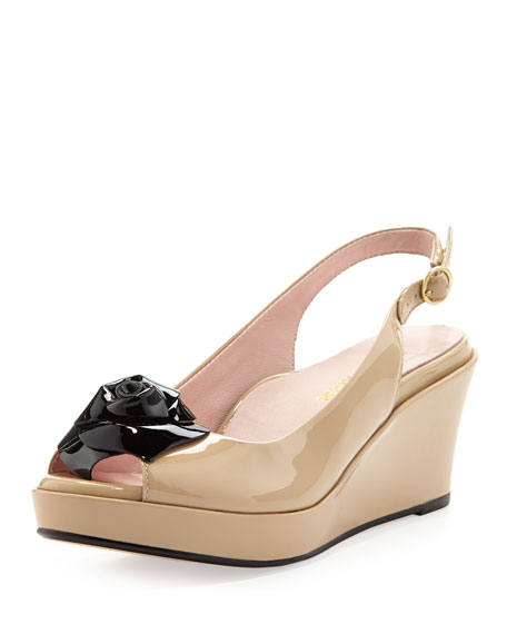 Star Patent Flower Slingback Wedge, Flesh/Black