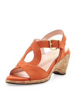 Taryn Rose Marianna Suede Wedge Sandal, Orange