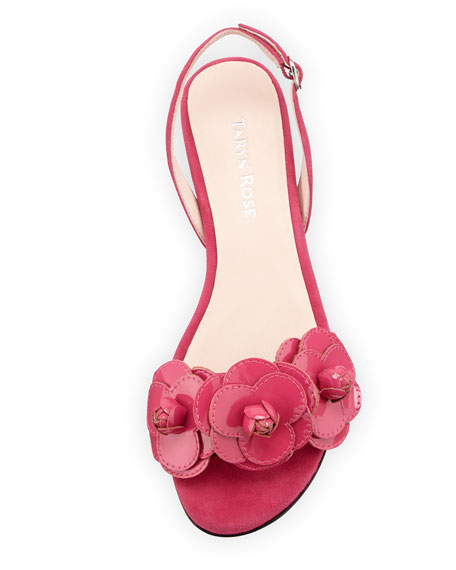 Ida Suede Flower Sandal, Flash Pink