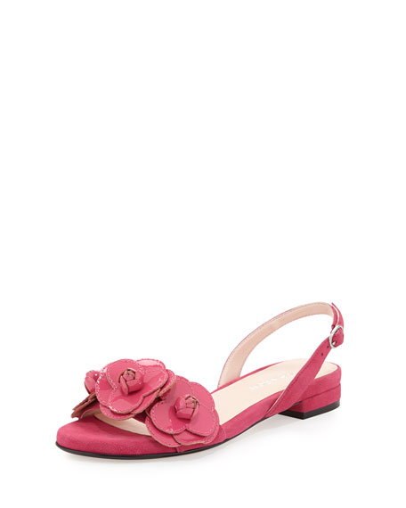 Taryn Rose Ida Suede Flower Sandal, Flash Pink