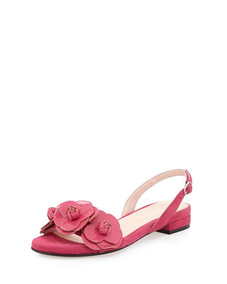 Ida Suede Flower Sandal, Flash Pink