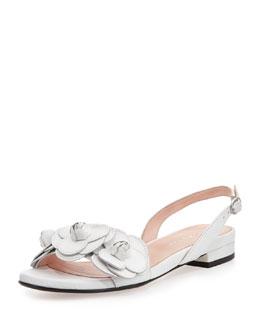 Taryn Rose Ida Flower Slingback Sandal, White