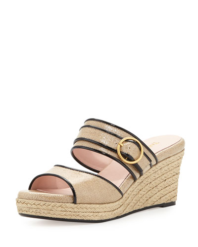 Kati Wedge Slide Sandal, Beige/Black