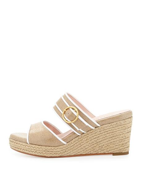 Kati Wedge Slide Sandal, Beige/White