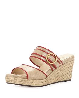 Taryn Rose Kati Wedge Slide Sandal, Beige/Red