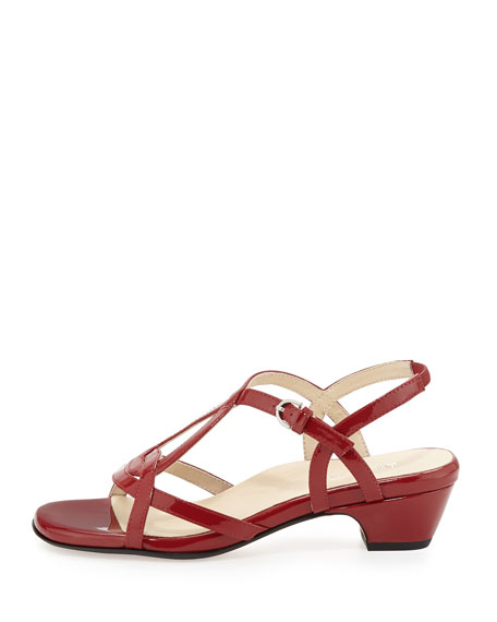 Odele Strappy Patent Sandal, Red