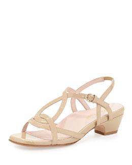 Taryn Rose Odele Strappy Patent Sandal, Nude
