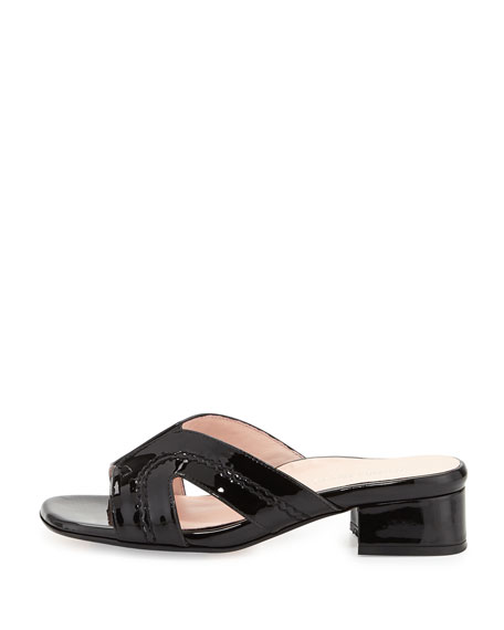 Olympia Patent Crisscross Slide Sandal, Black