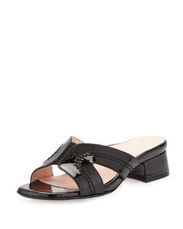 Taryn Rose Olympia Patent Crisscross Slide Sandal, Black