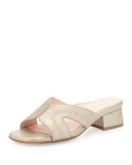 Taryn Rose Olympia Metallic Crisscross Slide Sandal, Soft Gold