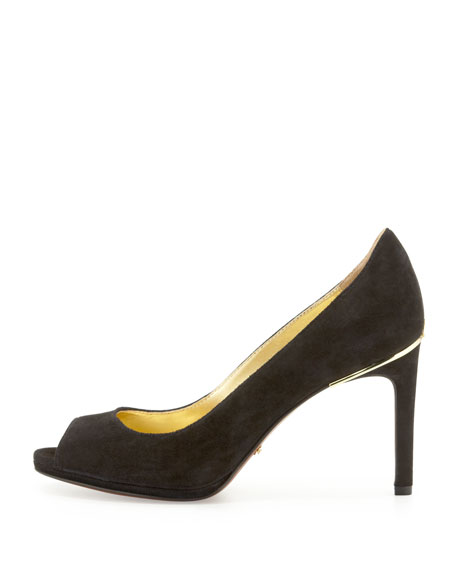Thalia Suede Peep-Toe Pump, Black