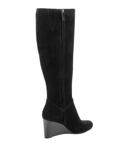 Cora Suede Wedge Boot, Black