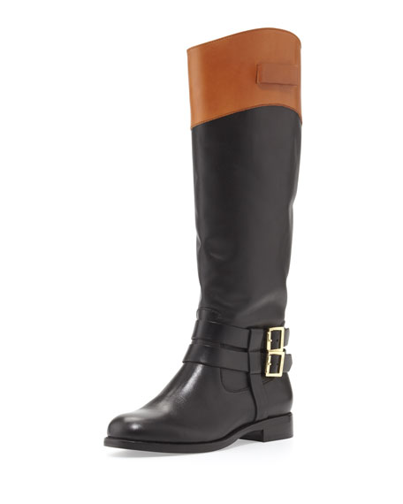 Grayson Riding Boot, Black/Honey