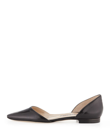 Soussaba Kidskin Leather Pointy d'Orsay Flat, Black
