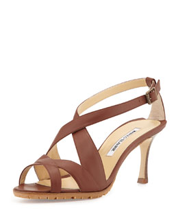 Manolo Blahnik Citronesa Leather Crisscross Sandal, Brown