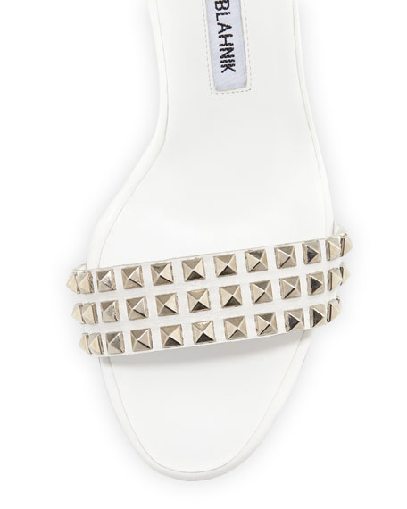Rocco Studded-Toe Sandal, White