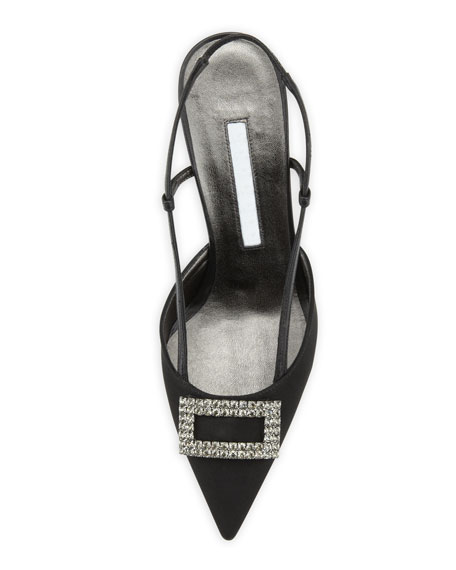Savoy Crepe Crystal-Buckle Slingback Pump, Black