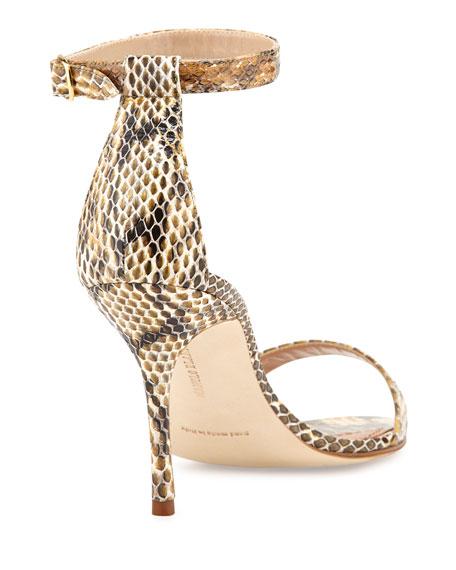 Chaos Snakeskin Ankle-Strap Sandal, Natural