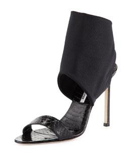 Manolo Blahnik Saccopen Snake Ankle-Wrap Sandal, Black