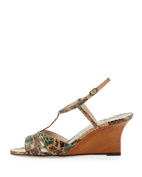 Atracon Camo Snake Wedge Sandal, Army Green