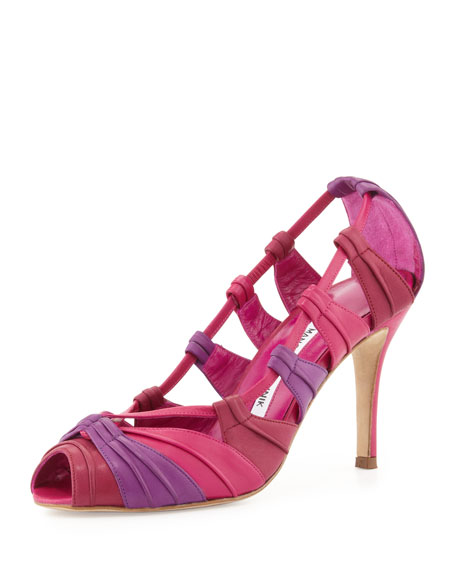 Natuk Peep-Toe Pump, Purple/Cranberry/Fuchsia