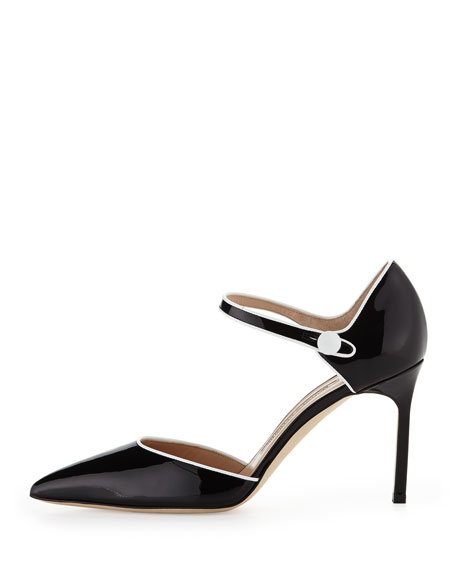 Norva Patent Ankle-Strap Mary Jane Pump, Black/White