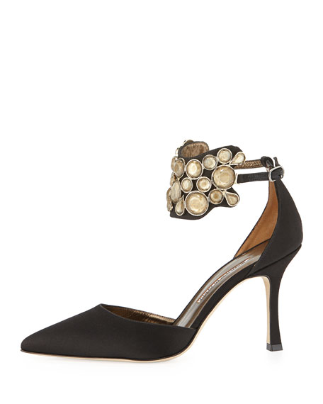Amatis Embellished Ankle-Wrap Pump, Black